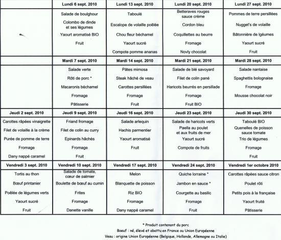 menu sept 2010
