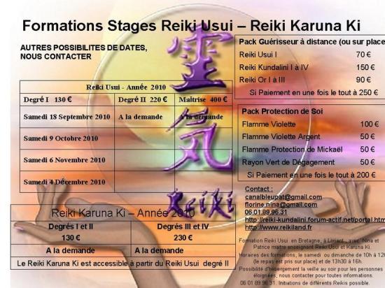agenda des formations reiki