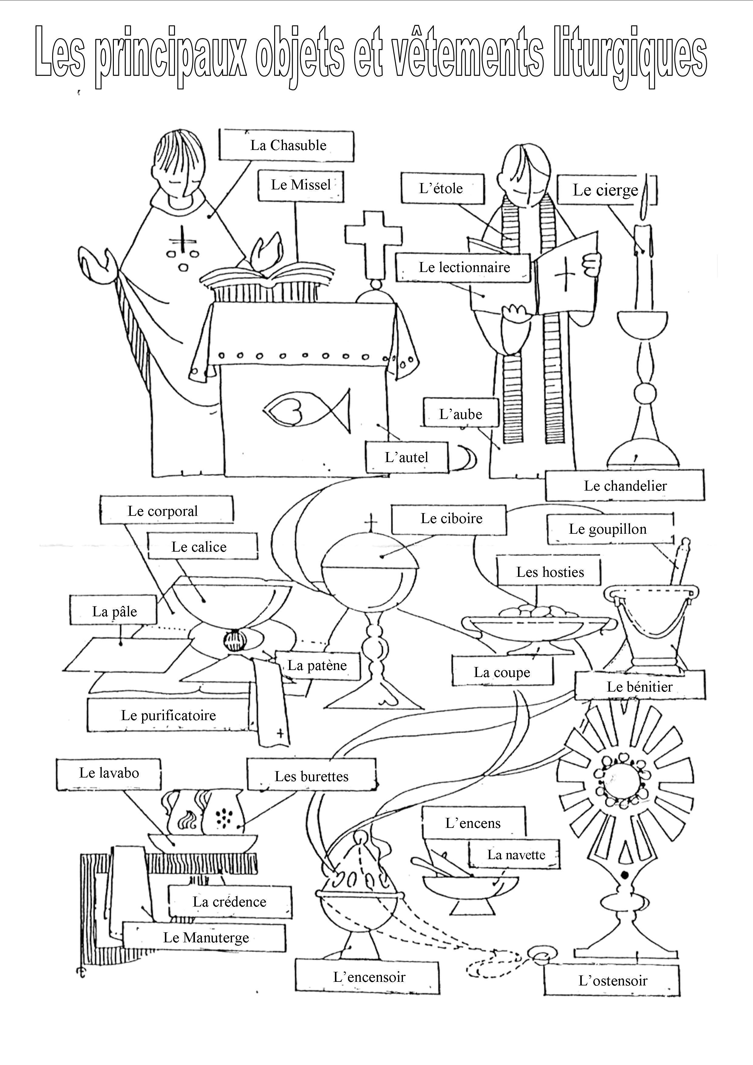 Les objets et couleurs liturgiques
