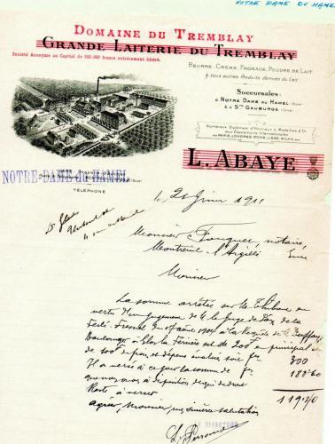 Lettre de la Laiterie du Tremblay (Reproduction, Coll.A.M.B 2010)