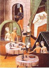 Ablutions parfumées dans une maison de bains, miniature du XV° siècle