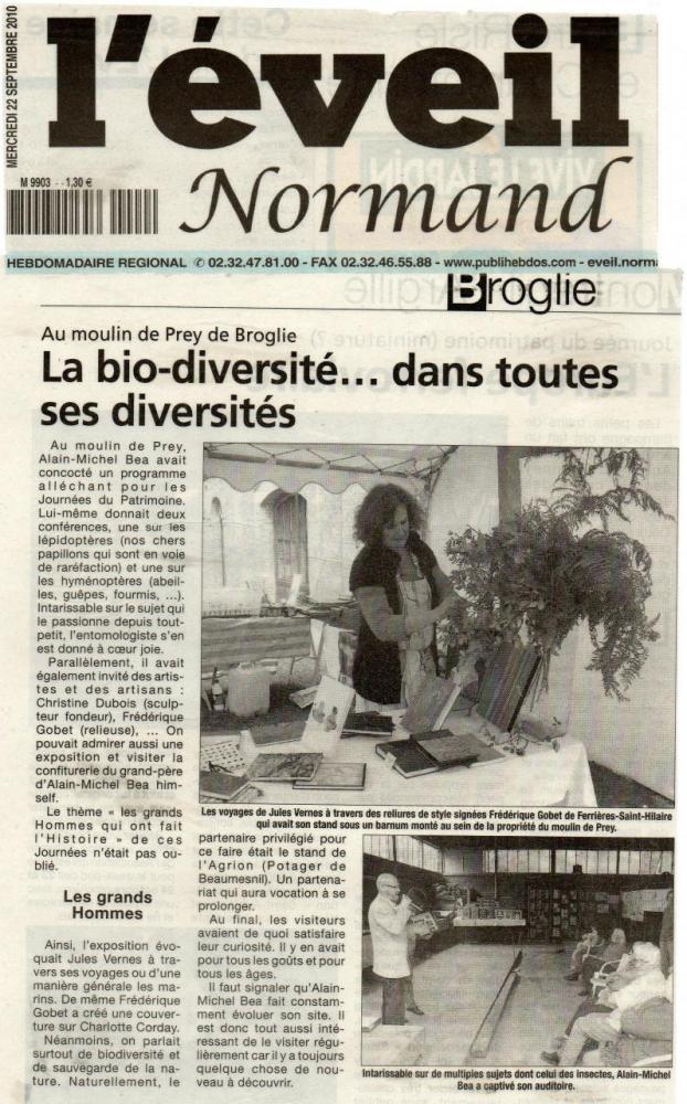 Article de l'Eveil Normand du Mercredi 22- IX- 2010