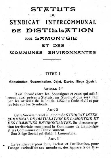 Statuts du syndicat de Lamontgie, P1, 1927