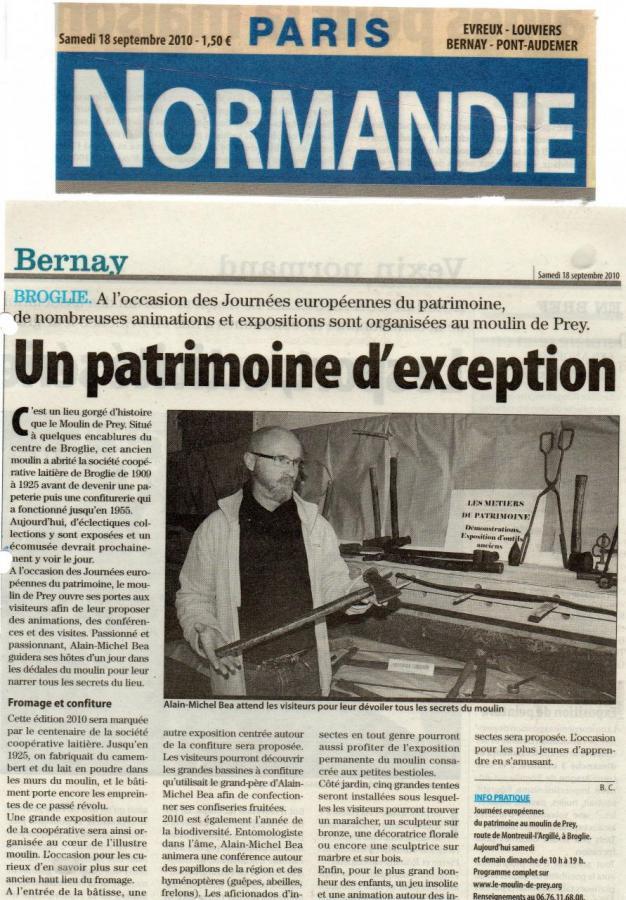 Article de Paris Normandie sur les Journées Européennes du Patrimoine 2010