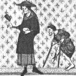 Lépreux - gravure du XIII° siècle