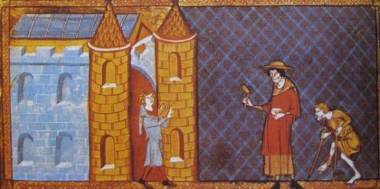 Deux lépreux demandant l'aumône d'après un manuscrit de Vincent de Beauvais - XII° siècle