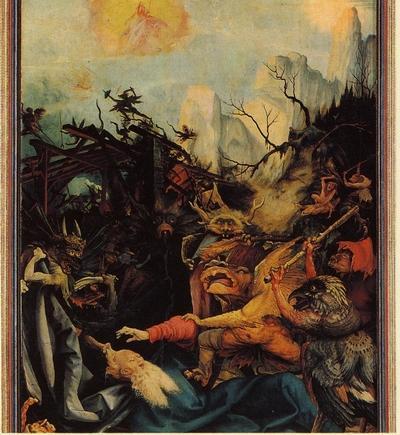 Détail de la Tentation de saint Antoine : monstre présentant les symptômes de la maladie de l'ergot de seigle, dite « feu de Saint Antoine » soignée au couvent des antonins destinataire du retable c. 1512–1515, Huile sur bois Musée d'Unterlinden, Colmar