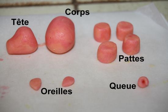 technique de modelage du petit cochon en pâte à sucre ou en pâte d