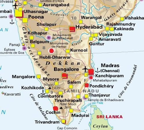 Carte d'Inde : Plan touristique Inde du Sud