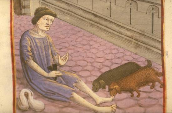 Lépreux assis sur le pavé de la rue, Ludolphe le Chartreux, vita christi,XV° siècle, BNF, Paris.