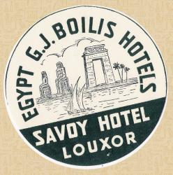 Encart publicitaire du Savoy-Hotel à Louxor. Circa 1899.