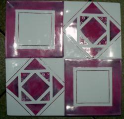 plat 4 carrés rose