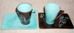 tasses arabesque turquoise/chocolat