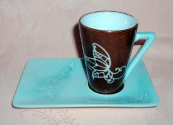 tasse arabesque turquoise/chocolat