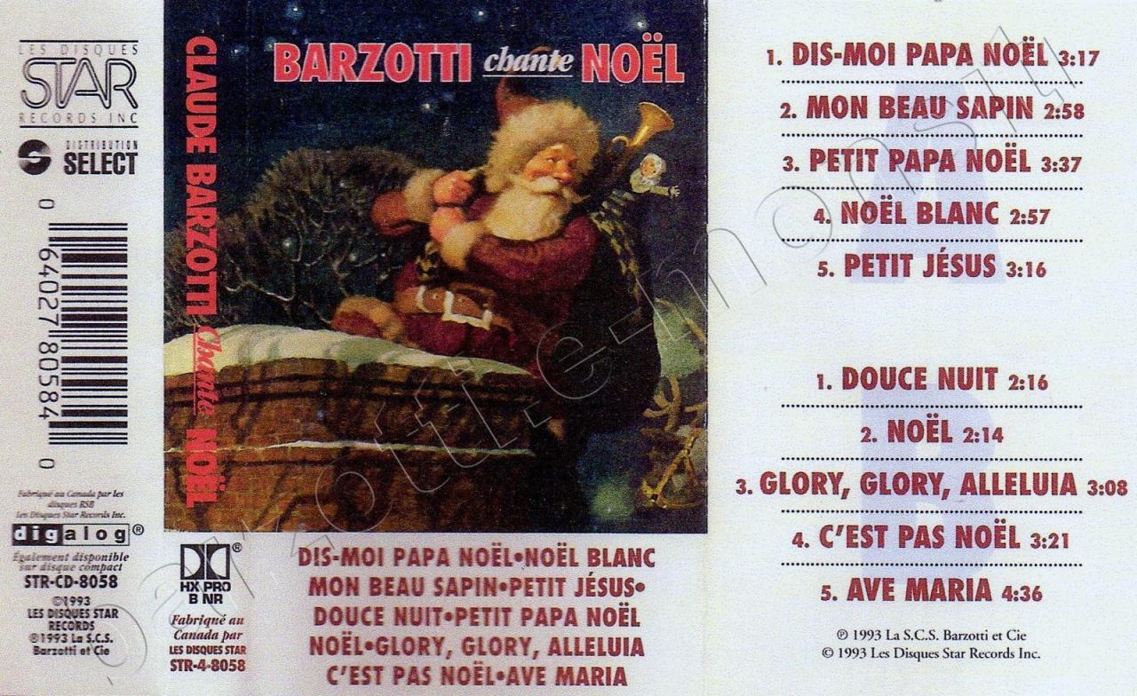 K7 audio Claude Barzotti Chante noël Canada