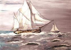 voilier dans la tempète