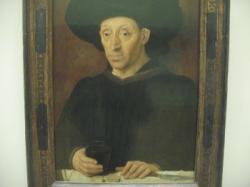 Anonyme français XV° - époque Fouquet - portrait d'homme avec verre de vin et fromage.