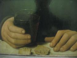 Anonyme français XV° époque Jean Fouquet - portrait d'homme avec verre de vin et fromage - détail.