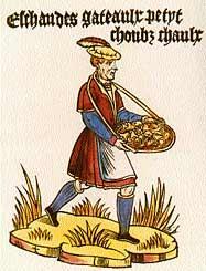 Marchand de gâteaux ambulant, Cris de Paris, vers 1500, BnF