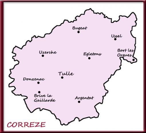 Carte de la Corrèze