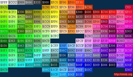 tableau de couleurs d'imprimerie trackmania