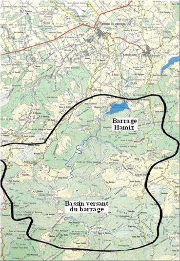 Situation géographique et bassin versant du barrage de Hamiz (I.N.C., 1987 : carte modifiée).