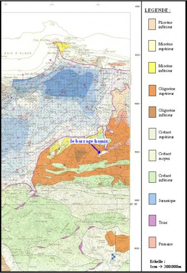carte géologique du barrage de Hamiz (d'après le ministère de l'hydraulique : carte modifiée).