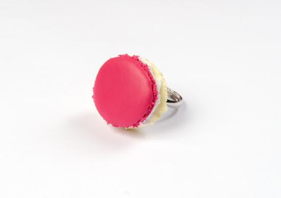 bague macaron fraise /framboise