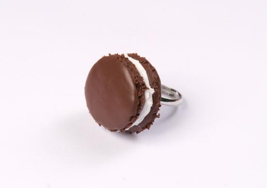 bague macaron chocolat