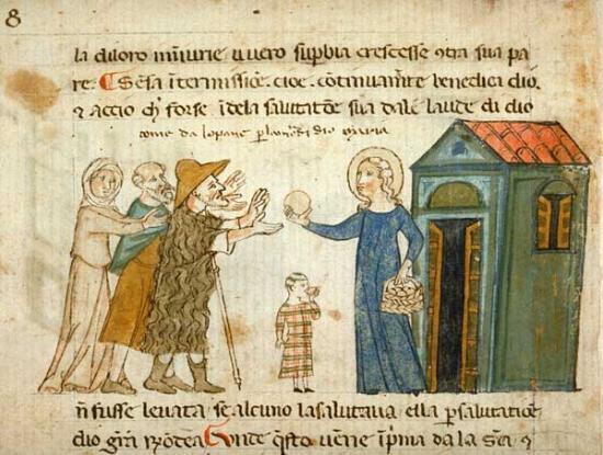 L'aumône à l'enfant pauvre, vers 1330-1340, BnF