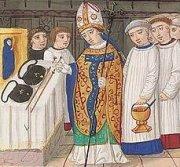 Bénédiction du bourdon et de la panetière du pèlerin, manuscrit de la bibliothèque de Lyon.