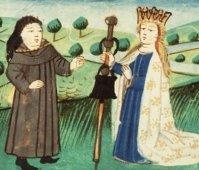 LLa Divine Grâce donne au pèlerin une besace (la foi) et un bâton (l'espérance),Miniature du site de la bibliothèque nationale des Pays-Bas.