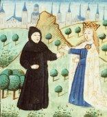 Le pèlerin rencontre la Divine Grâce, Miniature du site de la bibliothèque nationale des Pays-Bas.
