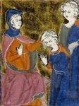 Pénitence imposée au pêcheur, manuscrit du XIV° siècle.