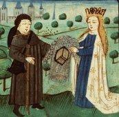 La Divine Grâce donne au pèlerin une armure (les vertus), Miniature du site de la bibliothèque nationale des Pays-Bas.