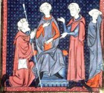 Pèlerin de retour réclamant sa femme remariée devant le juge, manuscrit du XIII° siècle