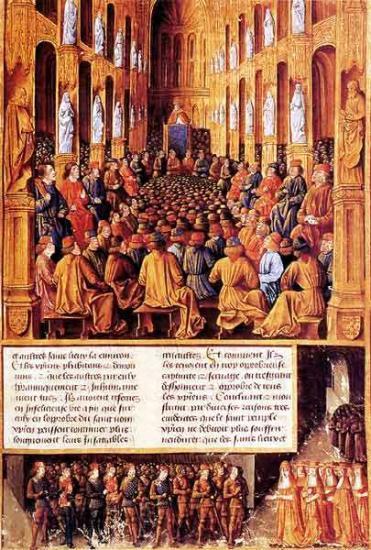 Le pape Urbain II préside le concile de Clermont, Bourges, Jean Colombe, 1474-1475, BnF