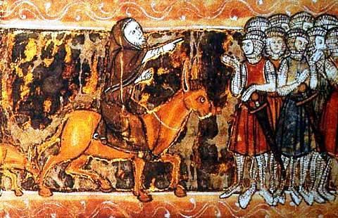 Pierre l'Hermite harangue les croisés en 1095, Roman du Chevalier du Cygne, XIII° siècle, BnF