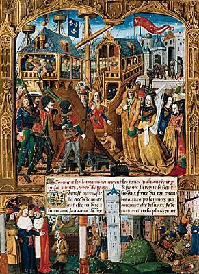 Saint Louis et la reine Marguerite de Provence s'embarquent à Damiette pour Acre avec le butin, miniature du XV° siècle, BnF