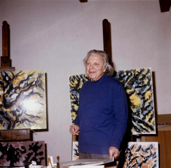 Marcel Dumont dans son atelier,Peinture abstraite,abstraction lyrique
