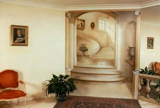 trompe-l\'oeil sur toile, peintures décoratives, fresques, faux bois ...
