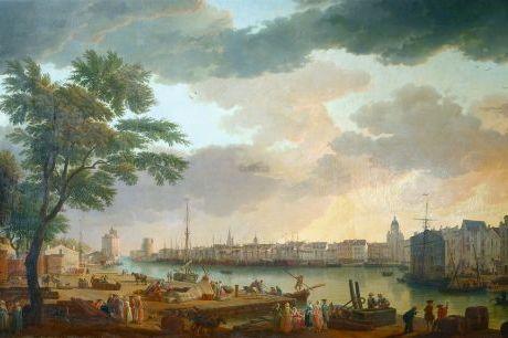 « Vue du Port de La Rochelle prise de la petite rive », un tableau d'Edouard Pinel (1806-1884). On distingue au premier plan des tonneaux, attendant d'être chargés. Une scène habituelle pendant plusieurs siècles sur le Vieux Port. MUSÉE DU NOUVEAU MONDE