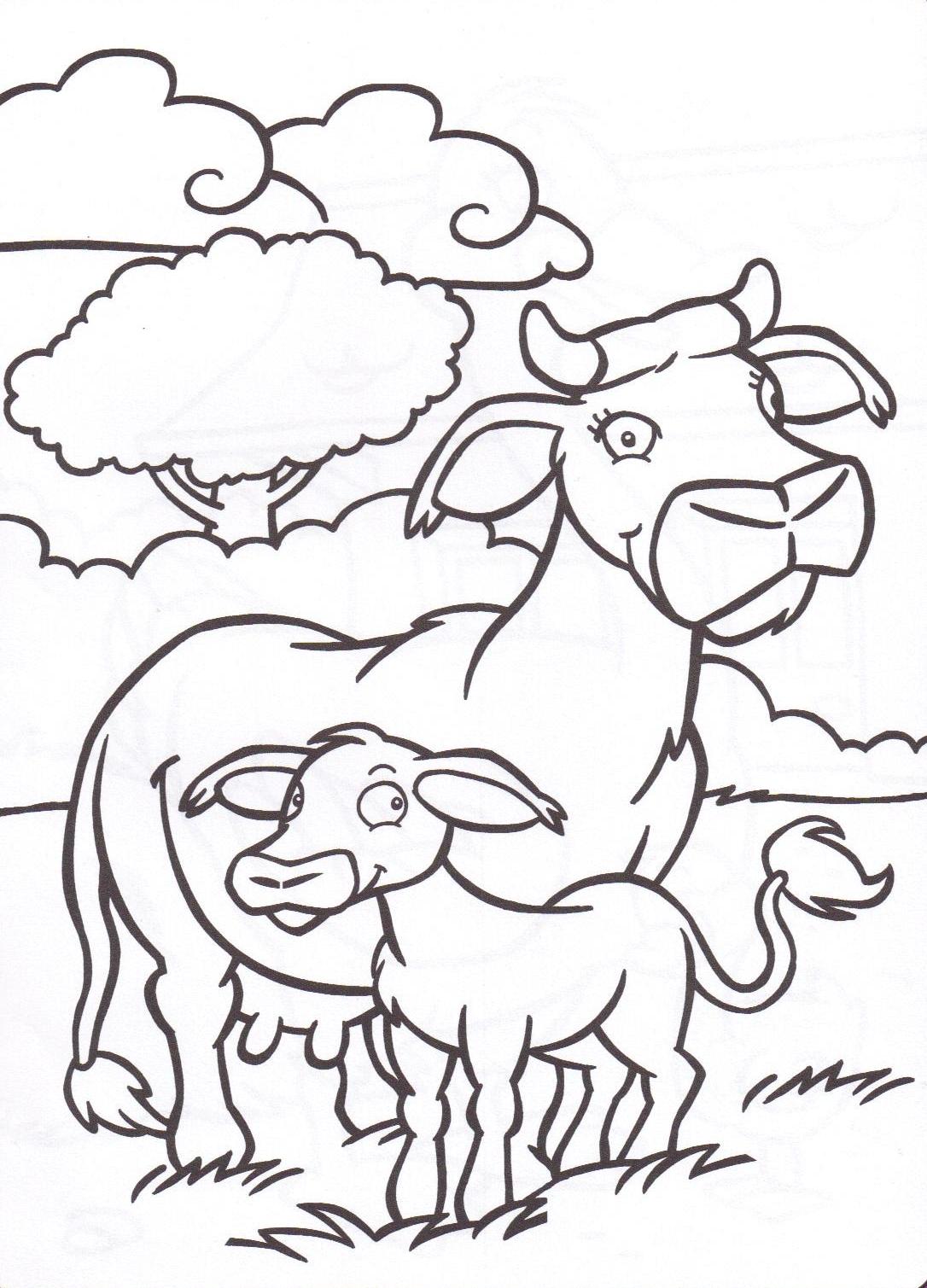 Animaux de la ferme - Coloriage petit veau ...
