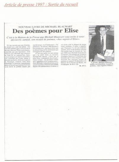 1997 : Sortie du recueil aux regrets d'Elise