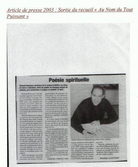 2003 : parution du recueil Au nom du