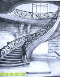escalier en pierre et fer forgé dessiné au crayon graphite