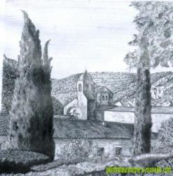 Monastère dans le sud de la France,dessin au crayon à papier