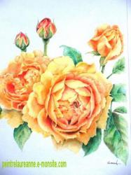 dessin au crayons de couleurs de roses en fleurs et en bouton jaunes orangés