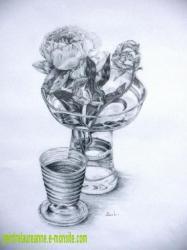 dessin de Pivoine dans un vase transparent au crayon à papier