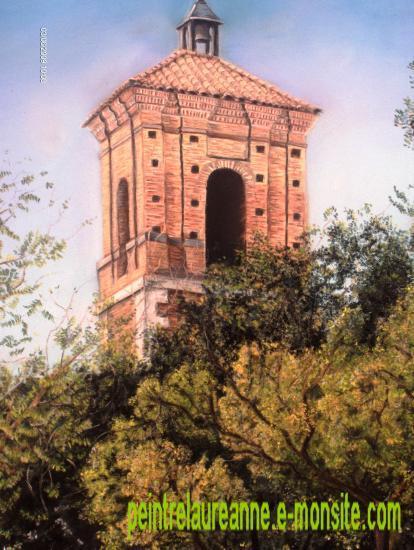 dessin au pastel sec architecture église à madrid